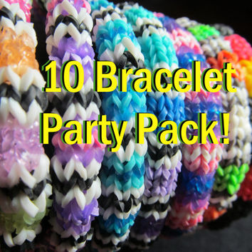 Party Pack 10 Rainbow Loom Hexafish Bracelets, Party Favors, birthday favors, class party, themed party, birthday party