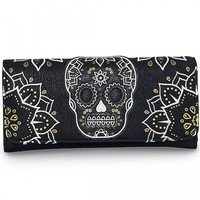 """""""CREAM AND GOLD SKULL"""" WALLET BY LOUNGEFLY (BLACK)"""