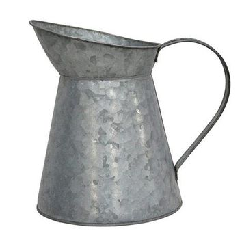 "Grey Galvanized Metal Pitcher Planter - 7.5"" Tall x 8"" Wide"