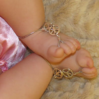 Sized Pair Peace Baby Barefoot Sandals, Peace Sign, Girls, Kids, Elastic, Silver, Sized, Barefoot Sandles, Foot Chain, Foot Accessories