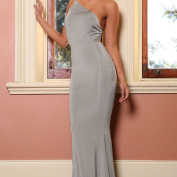 One Shoulder Open Back Fishtail Grey Long Dress