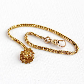 Antique Watch Chain - Vintage Rosy Yellow Gold Filled Lion Button Fob Pocket Watch Chain - Victorian 1900s F&B Foster Bailey Charm Jewelry
