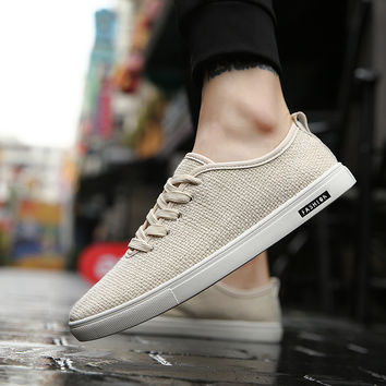 Summer Men Casual Shoes Man Flats Flax Breathable Mens Fashion Classic Outdoor Light Shoes Men Canvas Shoes Zapatos Comfortable