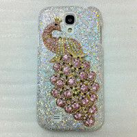 New Chic Bling Pink Crystal Peacock Sparkle Silver Color Samsung Galaxy S4 i9500 Case