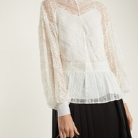 Peplum-hem floral-embroidered silk blouse | Muveil | MATCHESFASHION.COM US