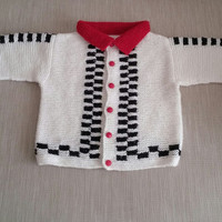 Black and white cardigan, red collar, red buttons, knitting for baby and kids