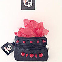 Genuine Leather Coinpurse Wallet Changepurse Black w/ RED Hearts Spikes Rivets Punk Wallet with Key Ring