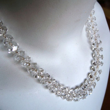 Vintage Rock Crystal Necklace Deco Faceted Choker Length 16 Inches
