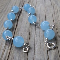 8mm Brazilian Aquamarine Beads 925 sterling silver bracelet
