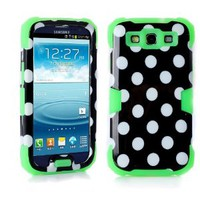 MagicSky Plastic + Silicone Hybrid Black Polka Dot Pattern Active Glow Case for Samsung Galaxy III S3 i9300 - 1 Pack - Retail Packaging - Green