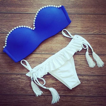 2015 Sexy Blue Pearl Women Swimsuit Push up Triangl Bikini Swimwear Bathing Suit S/M/L = 1956821956