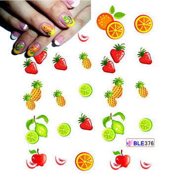 1 Sheet Cute DIY Tips Nail Art Nail Sticker Water Transfer Decals Strawberry Pineapple Orange Pattern Styling Stickers BLE376