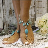 TURQUOISE DREAM - barefoot sandals - silver (ooak)