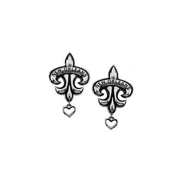 Signature Silver New Orleans Heart Fleur de lis Earrings