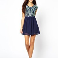 River Island Heavily Embellished Dress With Chiffon Skirt at asos.com