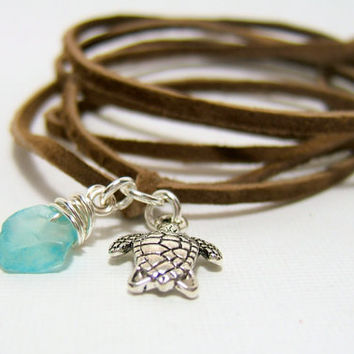 "BROWN Suede Wrap Anklet - Genuine ""Cafe"" Brown Suede Lace - Silver Sea Turtle Charm - Wire Wrapped Sea Glass ~ Wrap & Tie - Gift under 10"