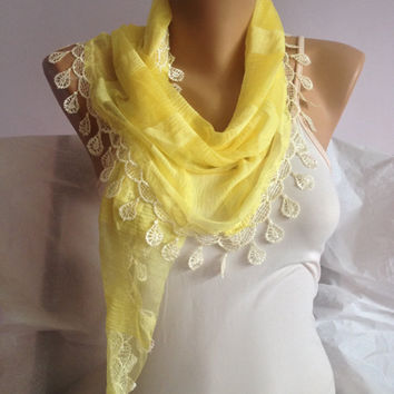 Yellow Scarf - Yellow Crochet Scarf - Striped   Lace Scarf - Triangle Yellow Scarf Shawl - Yellow Weddings - Bridesmaid Gift - Gift For Mom
