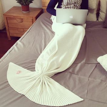 Knitted Mermaid Sofa Blanket Autumn&Winter HEAVY HIGH QUALITY White