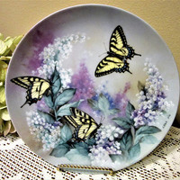 Plate Decorative Western Tiger Swallowtails Butterflies by Lena Liu Bradford Exchange Collectibles Porcelain Mother's Day Easter