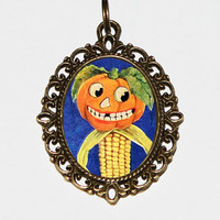 Pumpkin Man Necklace, Halloween Jewelry, Corn, Pumpkins, Spooky, Horror, Pumpkin Person, Autumn, Oddities, Bronze Oval Pendant