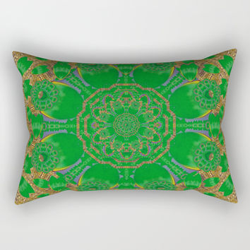 Summer landscape in green and gold Rectangular Pillow by Pepita Selles