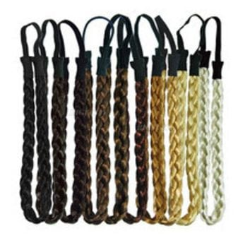 LMFONJ TS 3pcs Fashion Women Girl Synthetic Hair Plaited Plait Elastic Headband Hairband Braided Band Hair accessories Bohemian Style