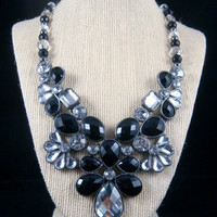 Statement Necklace - Black & Crystal Faceted Bib Necklace - Mixture of Metal and Acrylic Bib Necklace with Black, Crystal and Gunmetal Beads