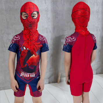 2PCs Swimming Clothes For Boy Spiderman Swim Trunks With Cap Boys Bathing Suit Swimsuit Kids Swimwear Children's Swimming Shorts