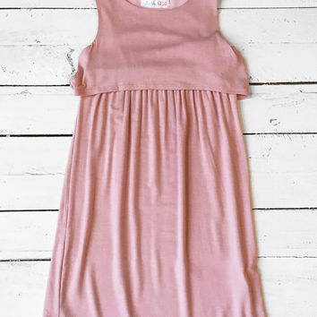 Girls Tank Dress - Blush