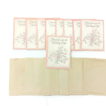 1950's Wedding Gift Thank You Cards, Unused, Set of 9 Cards & Envelopes, Pale Pink, Floral