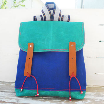 Multicolor Waxed Canvas Backpack Rucksack / Satchel / by ottobags