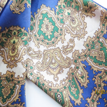 Vintage blue gold and green paisley scarf