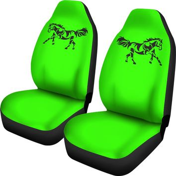 Black Horse Silhouette Lime Green Seat Covers