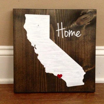California Wood Sign, Custom California State Sign, Stained and Hand Painted, Personalize, California decor
