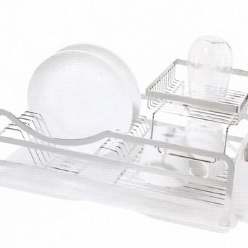 """4 pc Dish drainer set 2 level with removable utensil holder / holds up to 13 plates measures 18.5"""" x 10.5"""" x 9"""""""