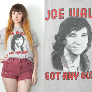 Vintage 80s Band Tee // Joe Walsh Got Any Gum? Album Shirt // Heathered Grey // Size XS / Extra Small / Small / Medium