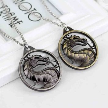 SG Fashion Game Jewelry Mortal Kombat Dragon Necklace A Ice And Fire Song Game of Thrones Round Dragon Snake Necklace For Men