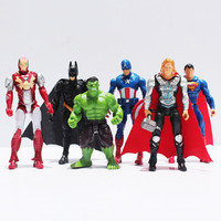 6pcs/lot The Avengers Batman Spider-Man Iron Man Hulk Thor Captain America Joint Moveable PVC Figure Model Toy for Kid