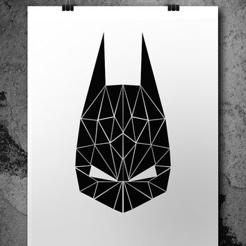Batman Wall Art, Superhero Wall Art, Superhero Poster, Printable Batman Mask, Nursery Wall Art