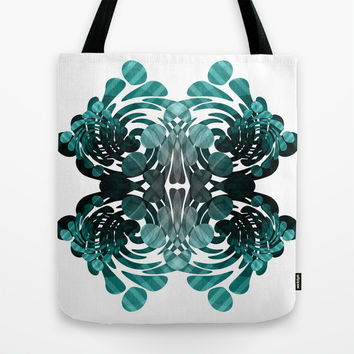 Abstract black and teal Tote Bag by VanessaGF