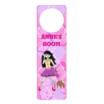 Fashion model illustration with her cute dog door hanger