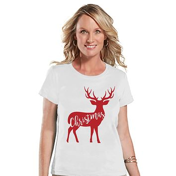 Reindeer Christmas Tee - Christmas T-Shirt - Ladies Holiday Top - Winter Tee - White T Shirt - Santa Pictures - Family Shirts - Rustic