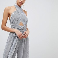 Parallel Lines Wrap Around Wide Leg Jumpsuit at asos.com