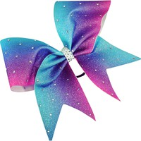 Glitter ombre bow with rhinestones.