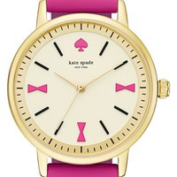 Women's kate spade new york 'crosby' leather strap watch, 34mm - Bazooka Pink/ Gold