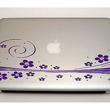 MACBOOK IPAD LAPTOP VINYL STICKER DECAL CUSTOM SIZE GIRLY FLOWER PATTERN D1351