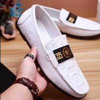 Versace New fashion print men shoes single shoes White