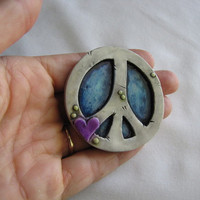 Blue Rustic Peace sign magnet - polymer clay art
