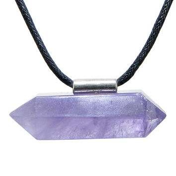 Brazilian Double Terminated Healing Crystal Point Amethyst Pendant Necklace