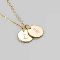 Double Disc Necklace • Personalized Engraved Necklace • 14k Gold Fill Sterling Silver or Rose Gold Necklace • Monogram Necklace | 0278-1-1NM